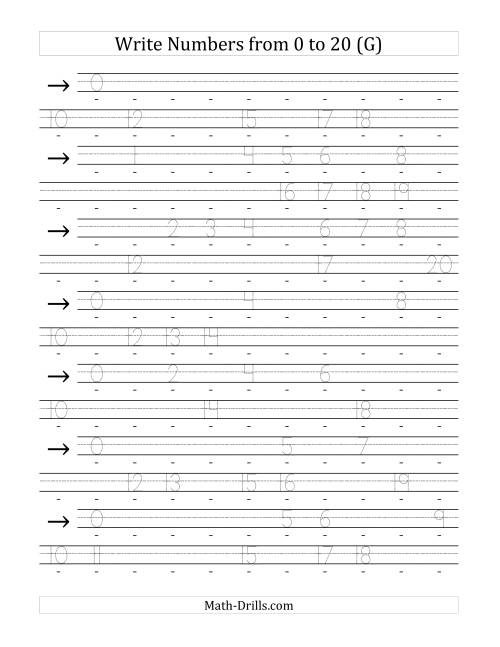 The Writing Numerals from 0 to 20 36pt (G) Math Worksheet