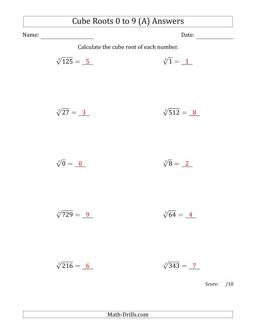 The Cube Roots 0 to 9 (A) Math Worksheet Page 2