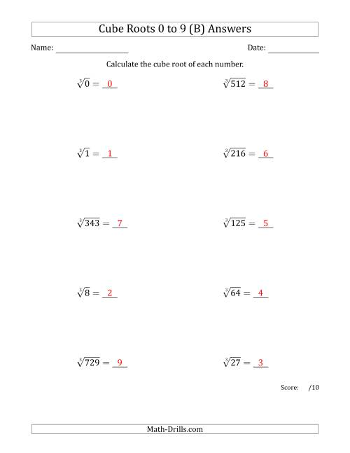 Cube Roots 0 to 9 B