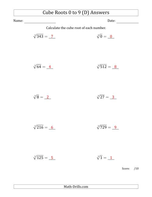 The Cube Roots 0 to 9 (D) Math Worksheet Page 2