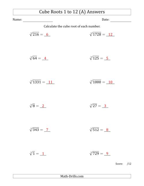 The Cube Roots 1 to 12 (A) Math Worksheet Page 2