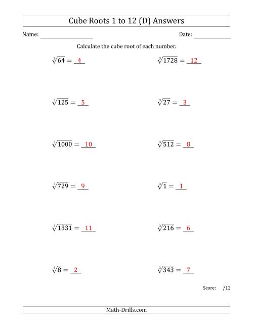 The Cube Roots 1 to 12 (D) Math Worksheet Page 2