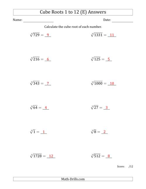 The Cube Roots 1 to 12 (E) Math Worksheet Page 2