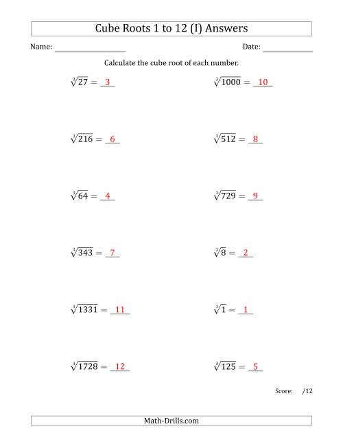 The Cube Roots 1 to 12 (I) Math Worksheet Page 2