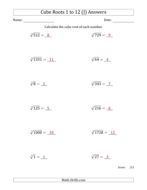 Cube Roots 1 to 12 J