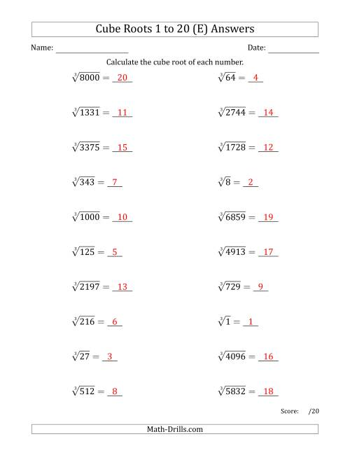 The Cube Roots 1 to 20 (E) Math Worksheet Page 2