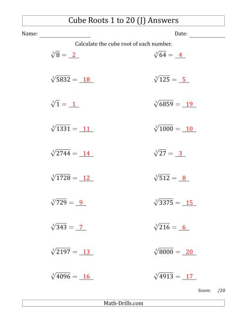 The Cube Roots 1 to 20 (J) Math Worksheet Page 2