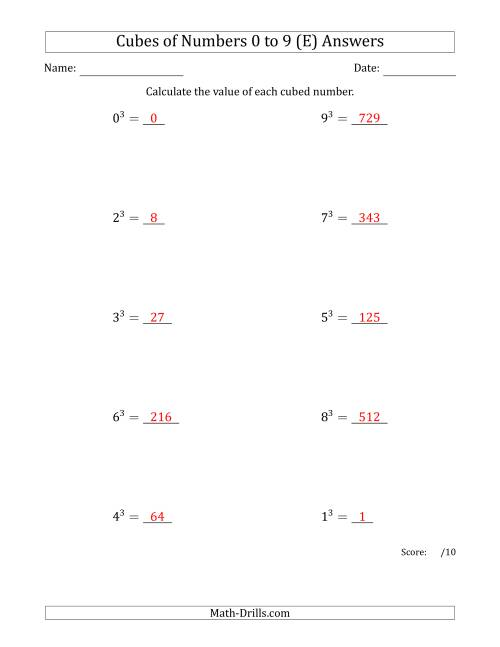 The Cubes of Numbers from 0 to 9 (E) Math Worksheet Page 2