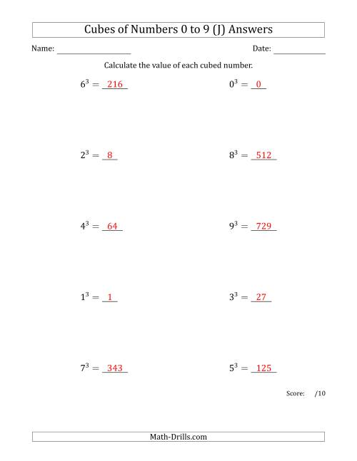 The Cubes of Numbers from 0 to 9 (J) Math Worksheet Page 2