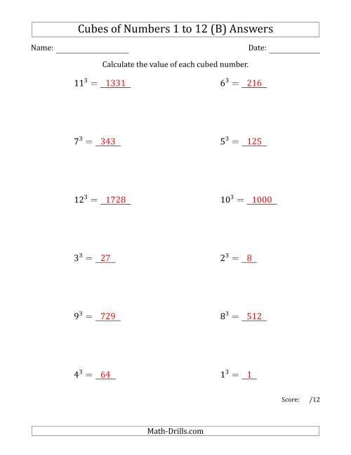 The Cubes of Numbers from 1 to 12 (B) Math Worksheet Page 2