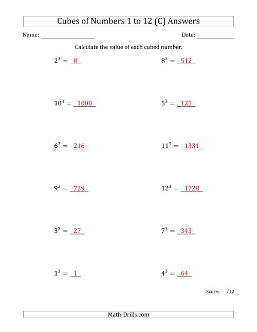 The Cubes of Numbers from 1 to 12 (C) Math Worksheet Page 2
