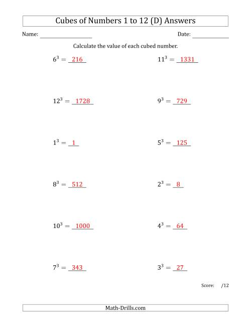The Cubes of Numbers from 1 to 12 (D) Math Worksheet Page 2