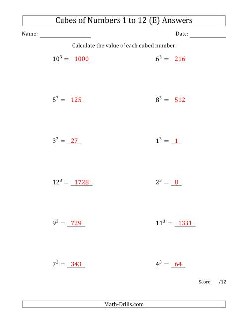 The Cubes of Numbers from 1 to 12 (E) Math Worksheet Page 2