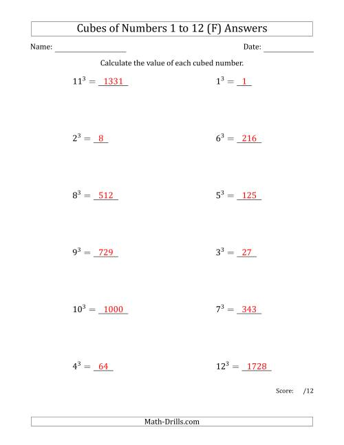 The Cubes of Numbers from 1 to 12 (F) Math Worksheet Page 2