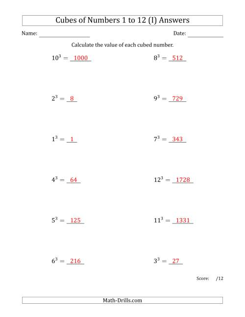 The Cubes of Numbers from 1 to 12 (I) Math Worksheet Page 2
