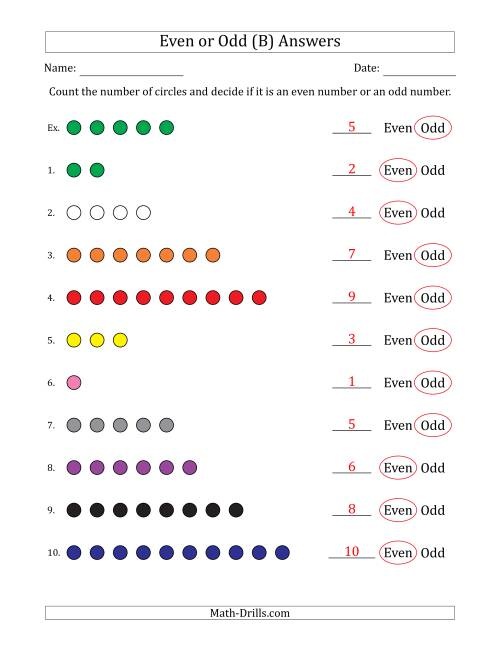 The Even or Odd Numbers of Circles (Numbers 1 to 10) (B) Math Worksheet Page 2