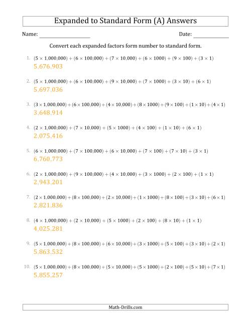 The Converting Expanded Factors Form Numbers to Standard Form (7-Digit Numbers) (US/UK) (A) Math Worksheet Page 2
