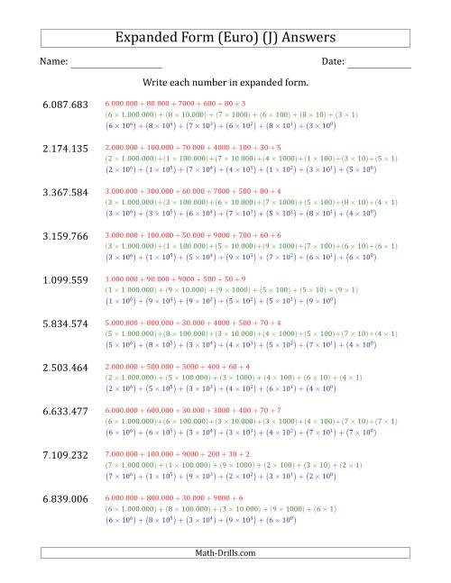 The Writing 7-Digit Numbers in Expanded Form (Euro Number Format) (J) Math Worksheet Page 2