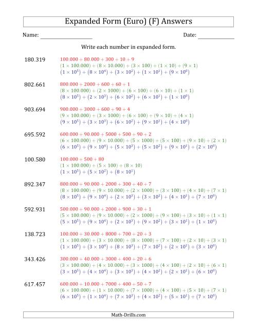The Writing 6-Digit Numbers in Expanded Form (Euro Number Format) (F) Math Worksheet Page 2