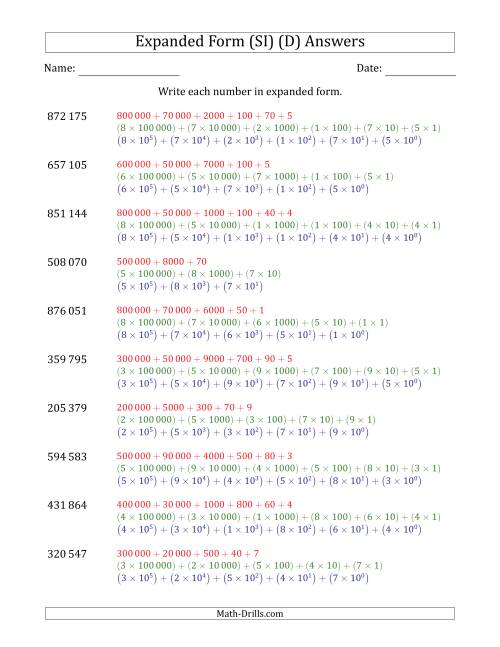 The Writing 6-Digit Numbers in Expanded Form (SI Number Format) (D) Math Worksheet Page 2