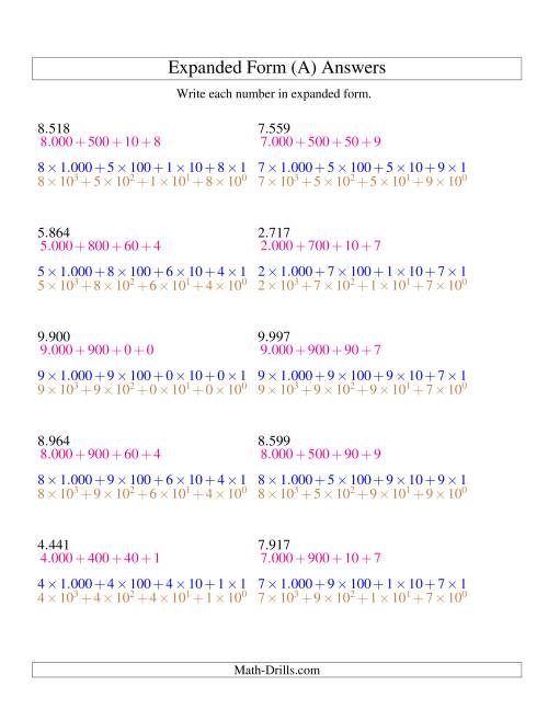 The Writing Numbers in Expanded Form 1.000 to 9.999 (Euro Version) (A) Math Worksheet Page 2