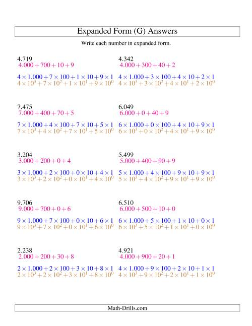 The Writing Numbers in Expanded Form 1.000 to 9.999 (Euro Version) (G) Math Worksheet Page 2