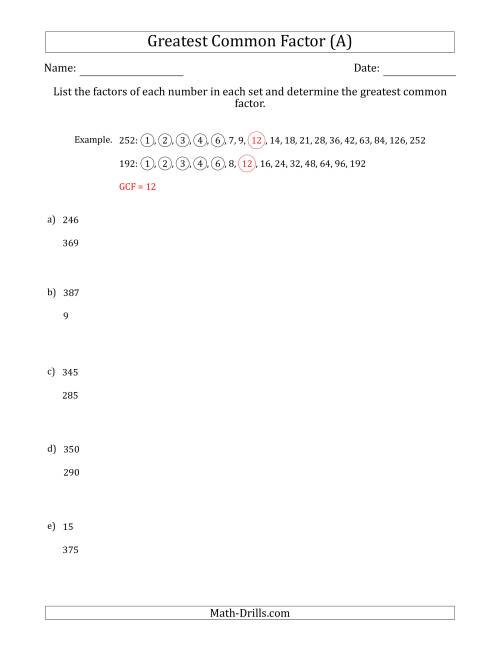 The Determining Greatest Common Factors of Sets of Two Numbers from 4 to 400 (A) Math Worksheet