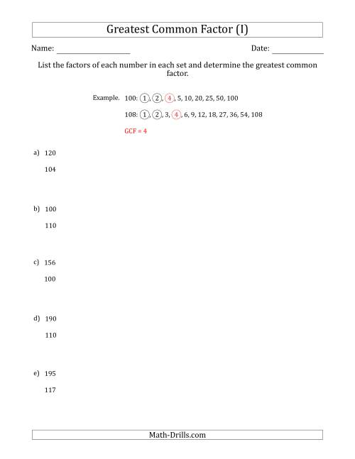 The Determining Greatest Common Factors of Sets of Two Numbers from 100 to 200 (I) Math Worksheet