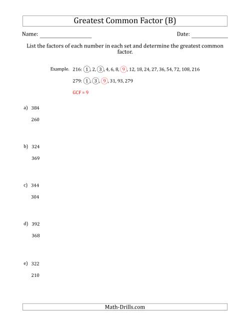 The Determining Greatest Common Factors of Sets of Two Numbers from 200 to 400 (B) Math Worksheet
