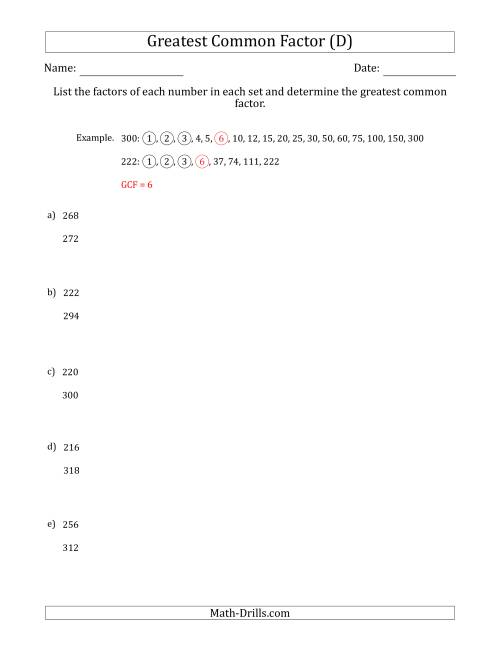 The Determining Greatest Common Factors of Sets of Two Numbers from 200 to 400 (D) Math Worksheet