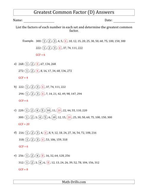 The Determining Greatest Common Factors of Sets of Two Numbers from 200 to 400 (D) Math Worksheet Page 2