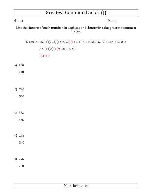The Determining Greatest Common Factors of Sets of Two Numbers from 200 to 400 (J) Math Worksheet