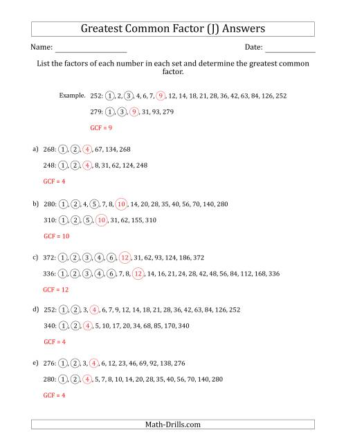 The Determining Greatest Common Factors of Sets of Two Numbers from 200 to 400 (J) Math Worksheet Page 2