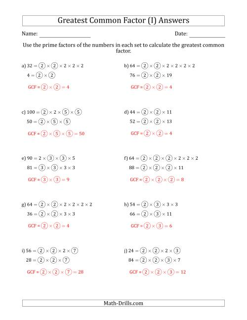 The Calculating Greatest Common Factors of Sets of Two Numbers from 4 to 100 Using Prime Factors (I) Math Worksheet Page 2