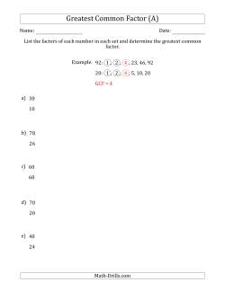 Common Factors and Greatest Common Factor (A)