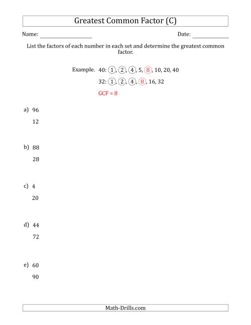 The Determining Greatest Common Factors of Sets of Two Numbers from 4 to 100 (C) Math Worksheet