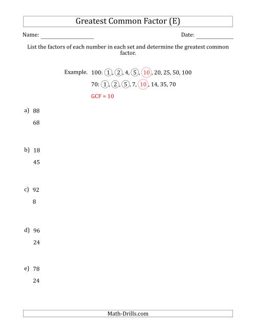 The Determining Greatest Common Factors of Sets of Two Numbers from 4 to 100 (E) Math Worksheet