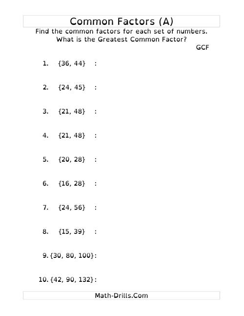 The Common Factors and Greatest Common Factor (DY) Math Worksheet