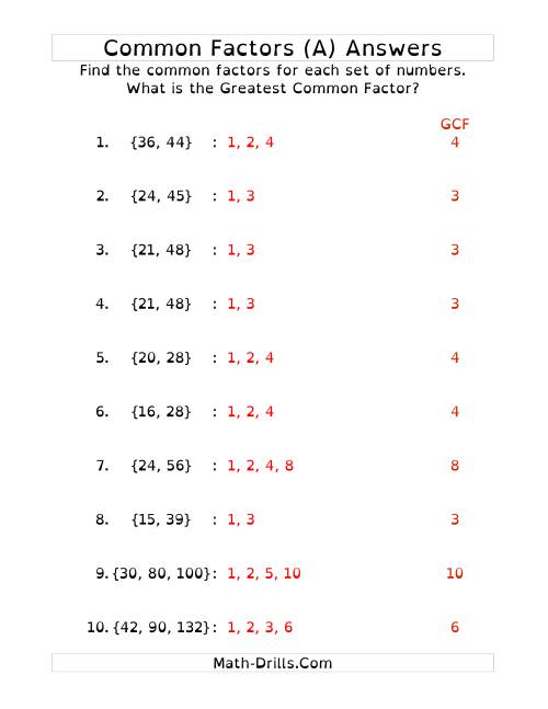 The Common Factors and Greatest Common Factor (DY) Math Worksheet Page 2