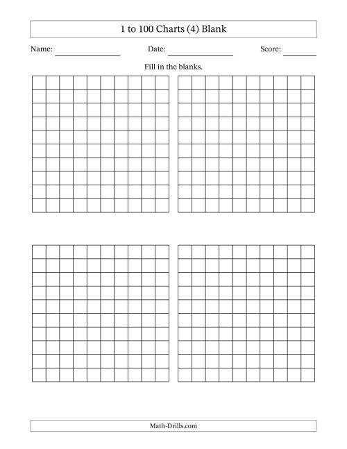 The Blank Hundred Charts (4) Math Worksheet
