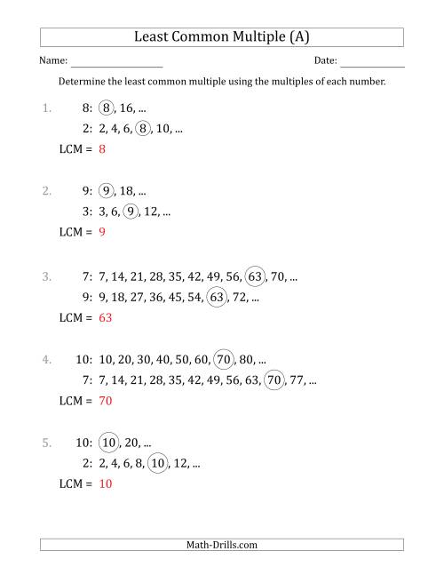 The Least Common Multiple from Multiples of Numbers to 10 (A) Math Worksheet Page 2