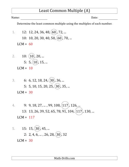 The Least Common Multiple from Multiples of Numbers to 15 (A) Math Worksheet Page 2