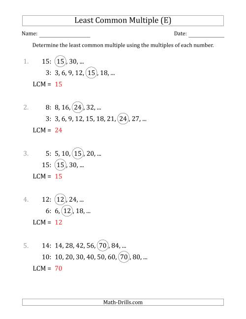 The Least Common Multiple from Multiples of Numbers to 15 (E) Math Worksheet Page 2