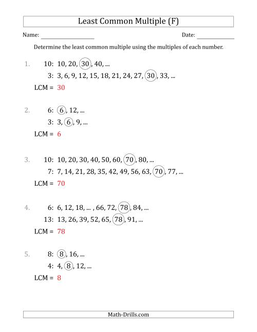 The Least Common Multiple from Multiples of Numbers to 15 (F) Math Worksheet Page 2