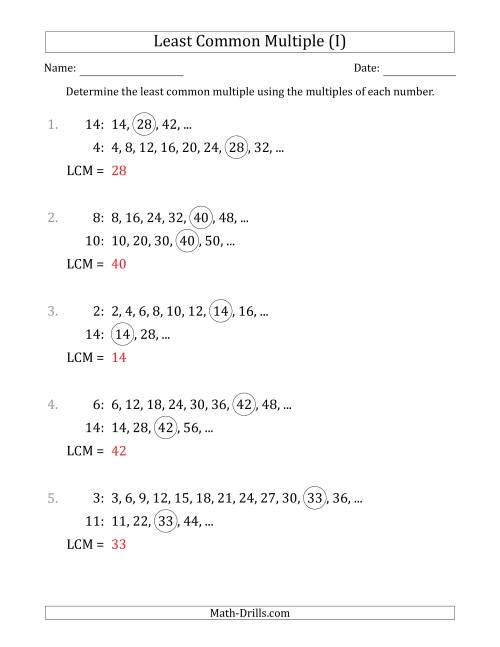 The Least Common Multiple from Multiples of Numbers to 15 (I) Math Worksheet Page 2