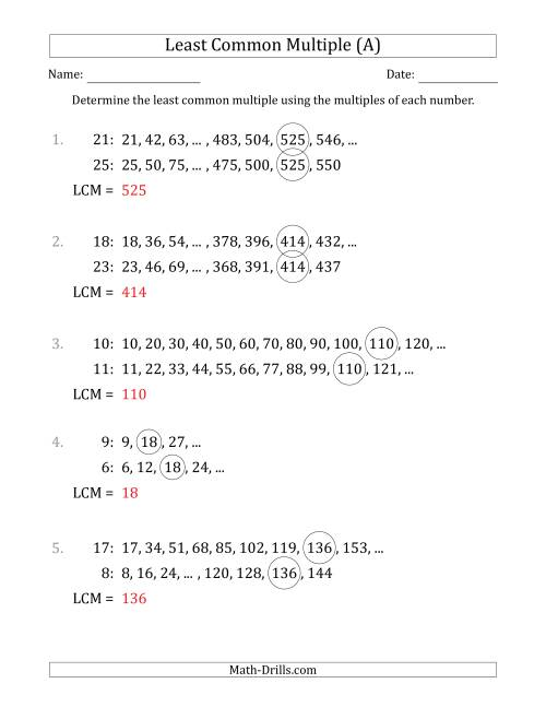 The Least Common Multiple from Multiples of Numbers to 25 (A) Math Worksheet Page 2