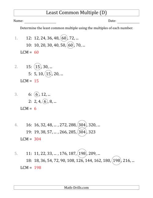 The Least Common Multiple from Multiples of Numbers to 25 (D) Math Worksheet Page 2