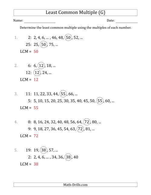 The Least Common Multiple from Multiples of Numbers to 25 (G) Math Worksheet Page 2