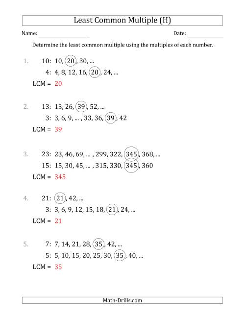 The Least Common Multiple from Multiples of Numbers to 25 (H) Math Worksheet Page 2