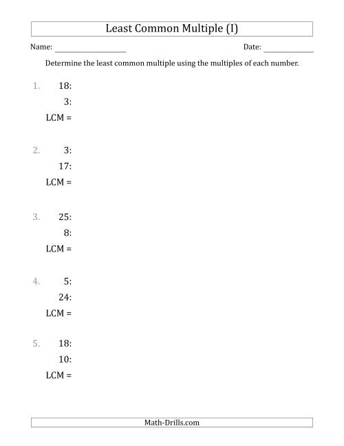 The Least Common Multiple from Multiples of Numbers to 25 (I) Math Worksheet